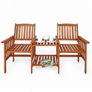 Table De Jardin Avec Banc : banc de jardin double avec table en acacia ~ Melissatoandfro.com Idées de Décoration