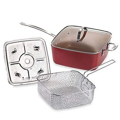 red copper  piece deep   square pan set pan set square pan cookware set stainless steel