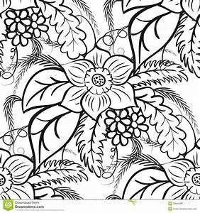 Monochrome Floral Seamless Pattern. Large Flowers And ...