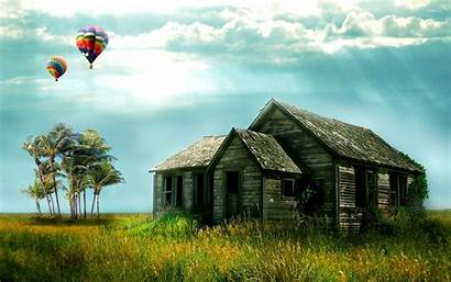 Air Balloons Above Wallpapers Ruined Houses Backgrounds