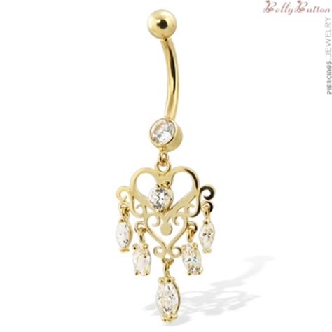 14k real yellow gold chandelier style belly button ring