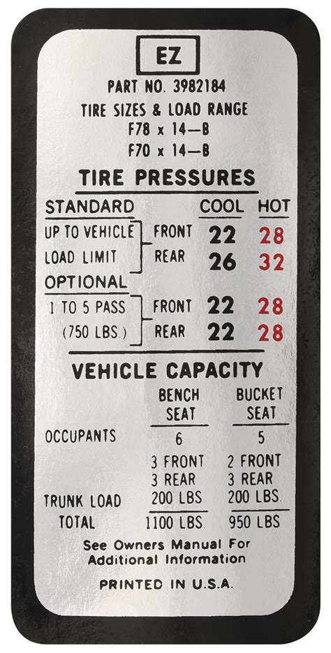 tire pressure monitoring 1974 pontiac gto user handbook tire pressure decal chevelle ez 3982184 fits 1970 chevelle opgi com