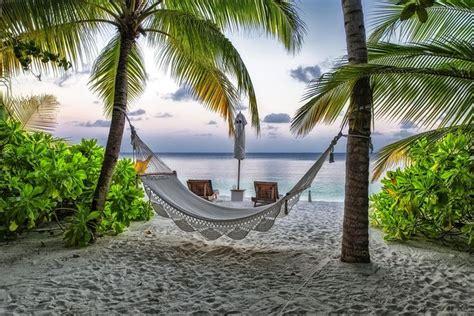 fond ecran hd paysage nature plage maldives hamac repos