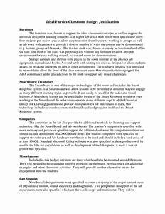 ideal physics classroom budget justification With budget justification template