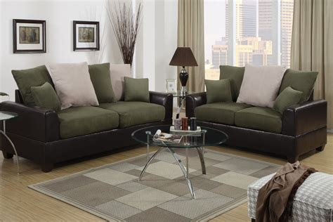 Microfiber And Loveseat Sets by Poundex Harlow F7568 Brown And Green Microfiber Sofa And