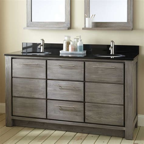 Two Vanities In Bathroom - 72 quot venica teak vessel sinks vanity gray wash