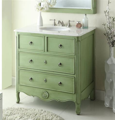 34 Inch Bathroom Vanity Cottage Beach Style Vintage Green