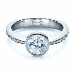 custom bezel set diamond engagement ring 1215 bellevue With bezel set wedding ring