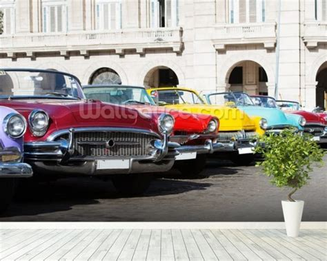Classic Car Wallpaper Setting by Colorful American Classic Cars Wallpaper Wall Mural