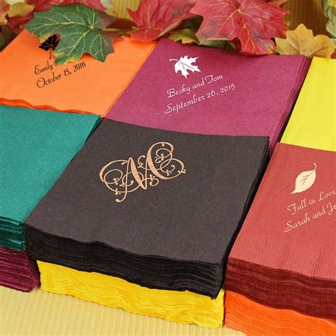 fall wedding cocktail napkins personalized  ply paper