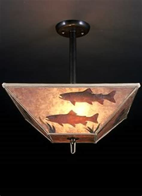 Sue Johnson Table Lamps by Rustic Lighting With Trout Mica Lamp Shade Ceiling Light