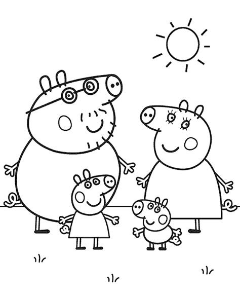 The whole Peppa Pig family on coloring page sheet books