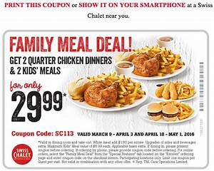 Swiss Chalet Canada Coupon: $29 99 Family Meal Deal