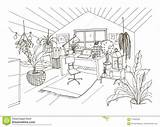 Attic Drawing Scandinavian Hygge Cabinet Modern Mansard Furnished Monochrome Cozy Decorated sketch template