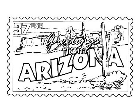 usa printables arizona state stamp  states coloring