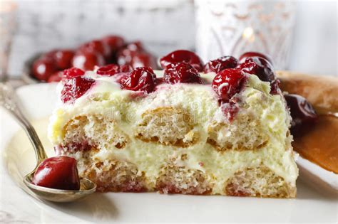 Homemade savoiardi biscuits also known as the lady's finger biscuits are delicious italian sponge fingers. Cherry Cake With Lady Finger Biscuits Stock Image - Image of icing, cream: 53689759