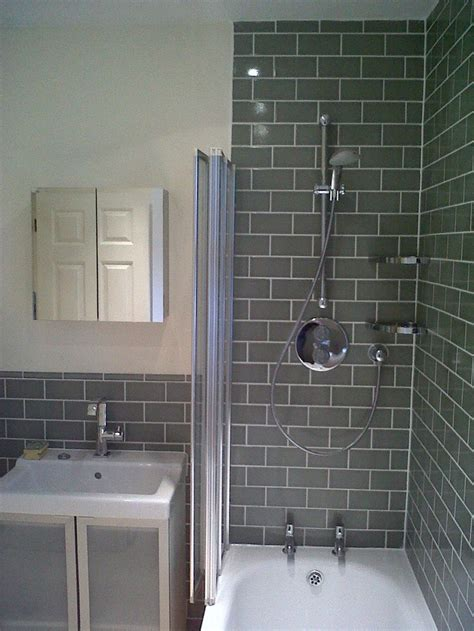 Tiling Panels For Bathrooms by Shower With Grey Brick Tile Effect Future Bathroom