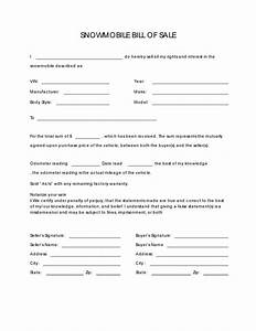 free snowmobile bill of sale form pdf docx With snowmobile bill of sale template
