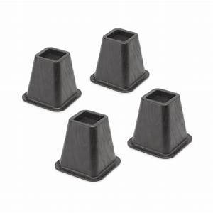 whitmor black plastic bed risersset of 4 6511 3349 blk With adjustable bed risers home depot