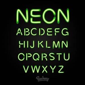 Green neon font free vectors