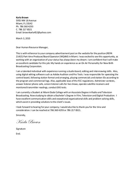 production company cover letter karla brown television and digital production