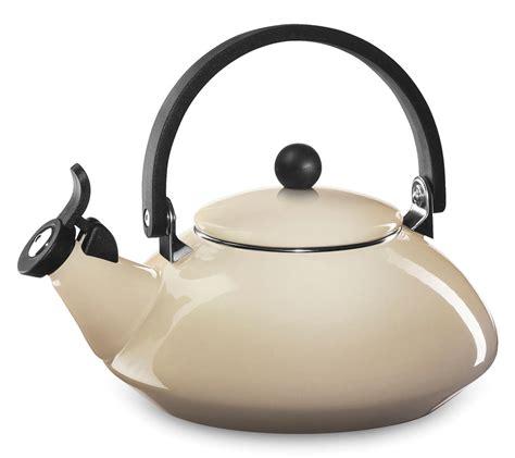 le creuset enameled steel zen tea kettle  quart dune cutlery