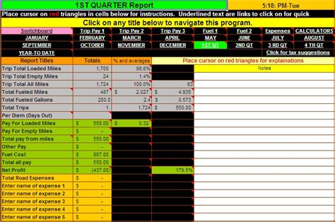 truck driver accounting software spreadsheet program