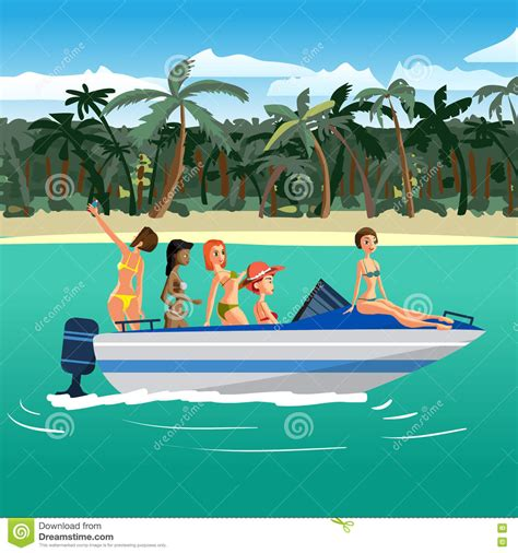 Bikini Boat Pictures by Women In Bikini Riding On A Motorboat Around A Tropical