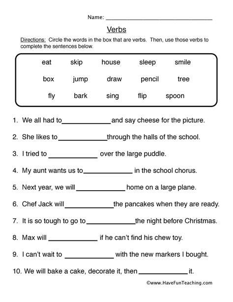 verbs for grade 1 kidz activities
