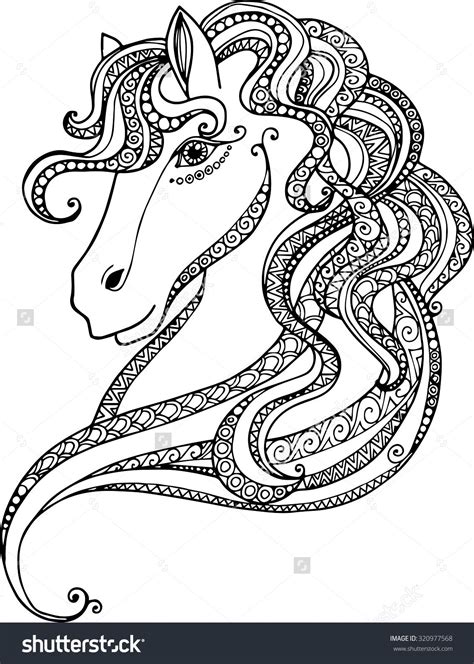 hand drawn decorative horse head illustration horse drawing  abstract doodle zentangle