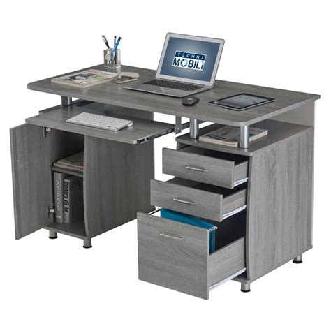 complete computer workstation desk with storage techni mobili techni mobili complete workstation computer desk in gray