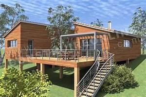 maison monopente contemporaine en bois sur pilotis de type With maison bois sur plots 6 habitats modulaires