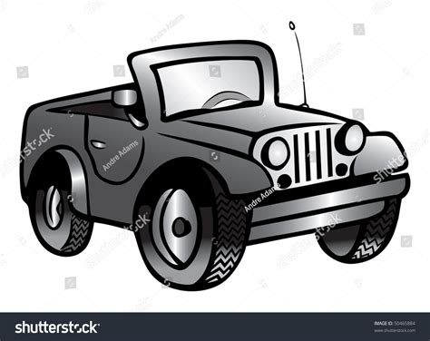 jeep illustration cartoon vector gray scale illustration jeep 50465884