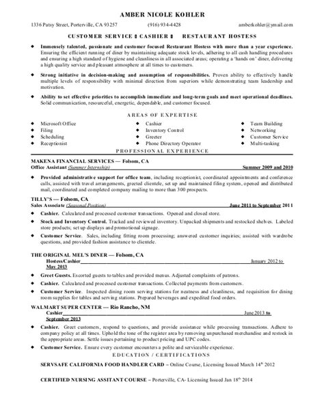 Customer Service Cashier Resume Sle by Cashier Resume Sle Walmart The 28 Images 6 Clothing