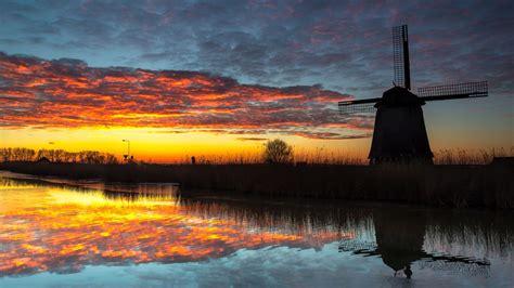 Download wallpaper 1920x1080 windmill, dark, dusk, river ...