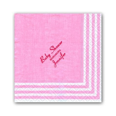 Baby Shower Pink Stripe Personalized Cocktail Napkins