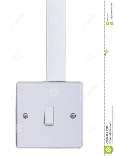 light switch mounted on white wall stock photo image