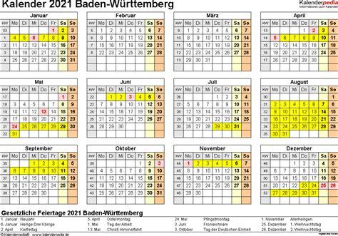 Hier finden sie die schulferien der volksschule. Kalender 2021 Baden-Württemberg: Ferien, Feiertage, Excel ...