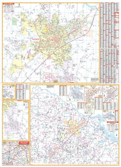 salisbury n c offender map salisbury rowan co nc wall map ebay