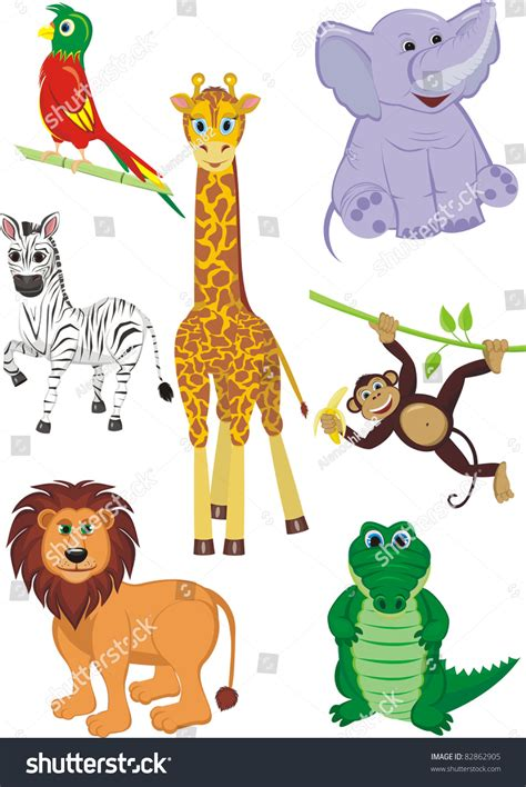 cartoon illustration   cute safari animals