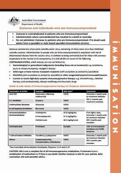 zostavax vaccine  immunocompromised individuals fact