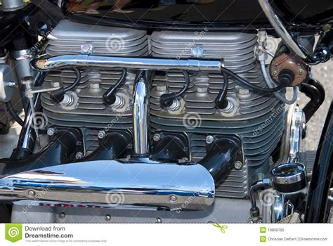 Indian 4 Cylinder Motorcycle Engine Stock Photo