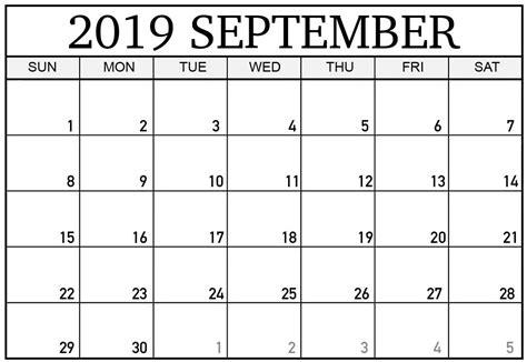 printable blank calendar  september template net