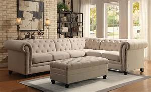 coaster roy button tufted sectional sofa with armless With sectional sofa with button tufted design brown microfiber