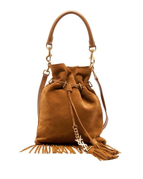 saint laurent monogram small suede fringe bucket bag camel neiman marcus
