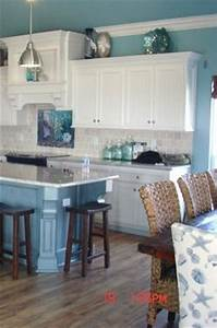 beachcoastal decor white cabinets and warm wood floor With kitchen cabinets lowes with wall art beach