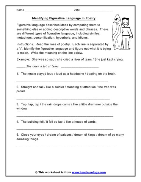 printable figurative language worksheets 1 projects to