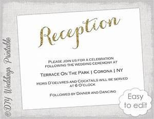 wedding reception invitation template diy quotgold glitter With wedding cards photo editor