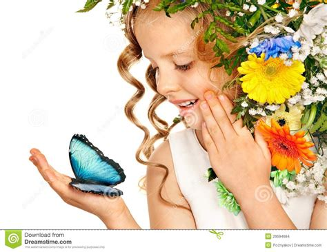 acconciatura con fiore bambina con l acconciatura fiore fotografia stock