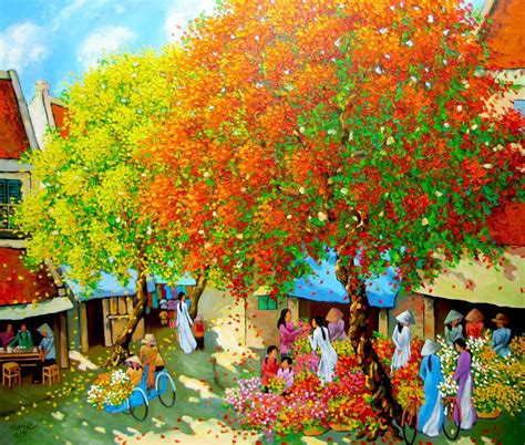 Flower Market In Spring Original Vietnamese Art Buy